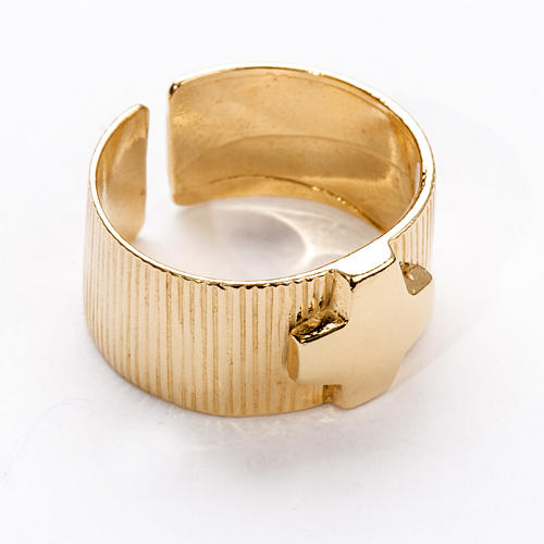 Ecclesiastical Ring in gold plated silver 925, cross decoration 1