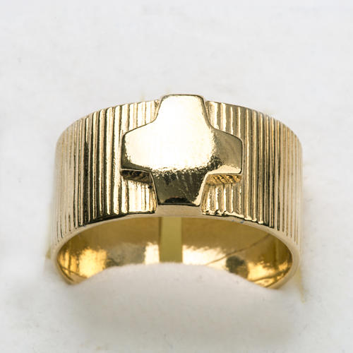 Ecclesiastical Ring in gold plated silver 925, cross decoration 4