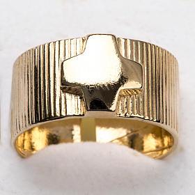 Anillo obispal de plata 925, en dorado con cruz s6