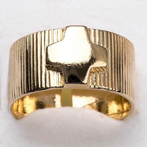 Anillo obispal de plata 925, en dorado con cruz 6