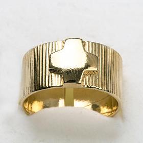 Anello vescovi argento 800 dorato croce s4