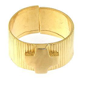 Anello vescovi argento 925 dorato croce s2