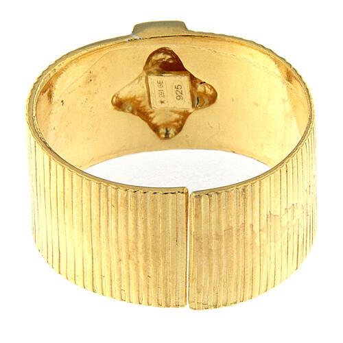 Anello vescovi argento 925 dorato croce 3