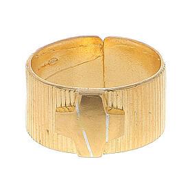 Pierścień biskupi ze srebra 925 złocony krzyż s2