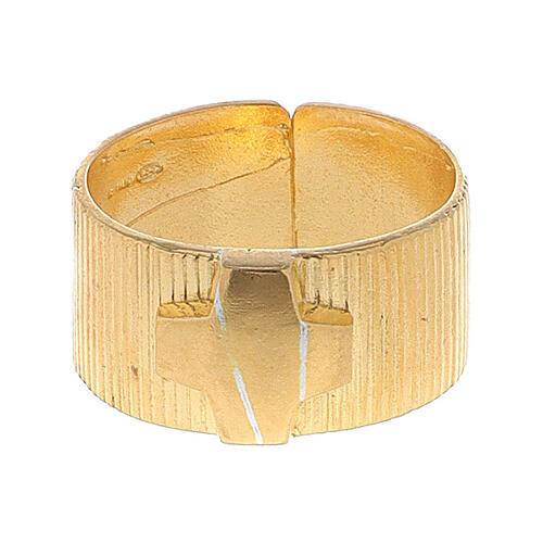 Pierścień biskupi ze srebra 925 złocony krzyż 2
