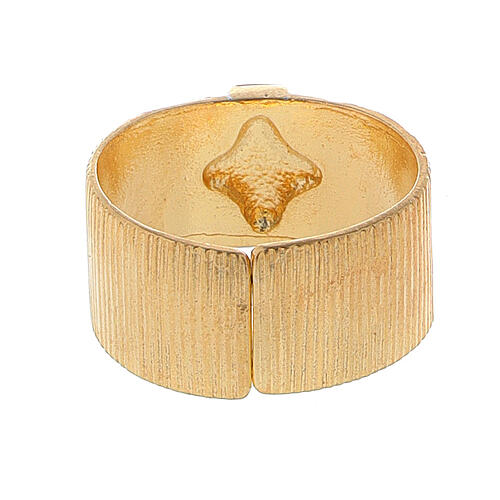 Pierścień biskupi ze srebra 925 złocony krzyż 3