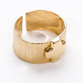 Ecclesiastical Ring in gold plated silver 925, cross decoration s1
