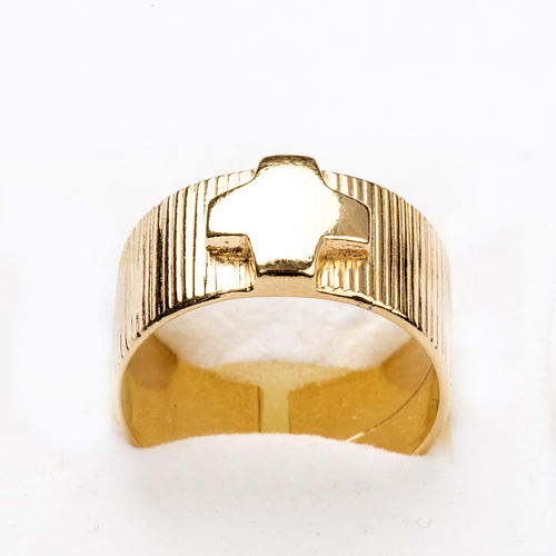 Ecclesiastical Ring in gold plated silver 925, cross decoration 5