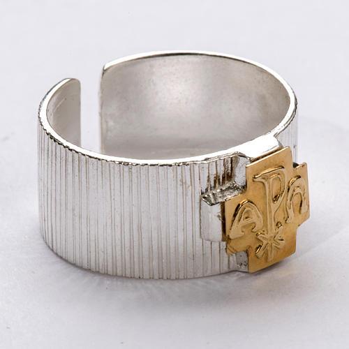 Anillo obispal  de plata 925, cruz de alfa, omega 1