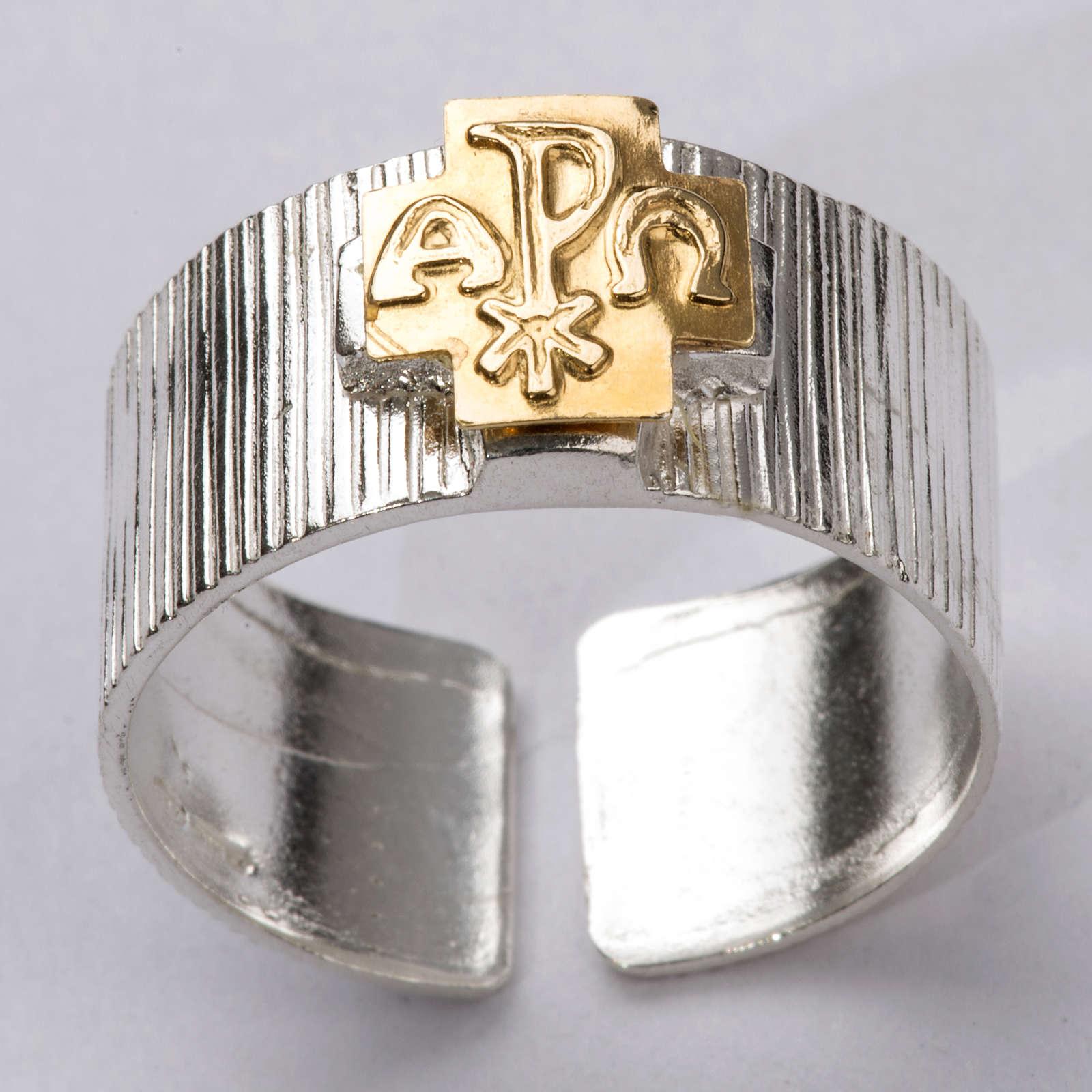 Anello vescovi argento 925 croce alfa omega XP 3