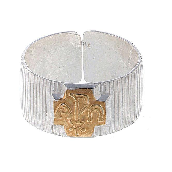 Pierścień biskupi ze srebra 925 krzyż alfa omega XP 3