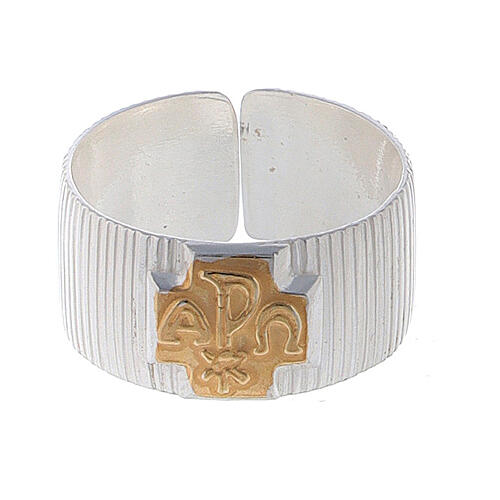 Pierścień biskupi ze srebra 925 krzyż alfa omega XP 2