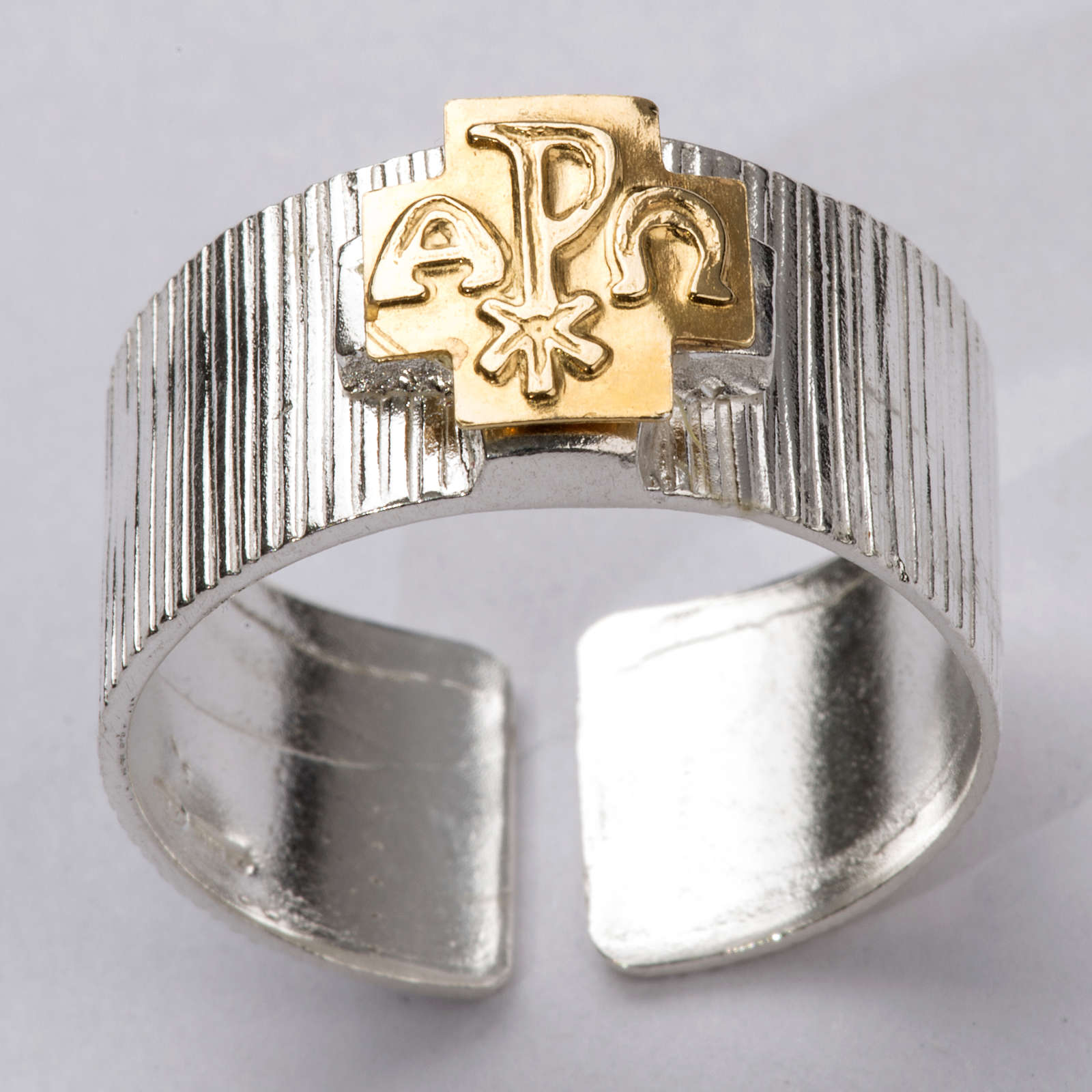 Anel bispo prata 925 cruz alfa ómega Chi-Rho 3