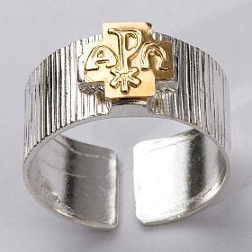 Anel bispo prata 925 cruz alfa ómega Chi-Rho s5