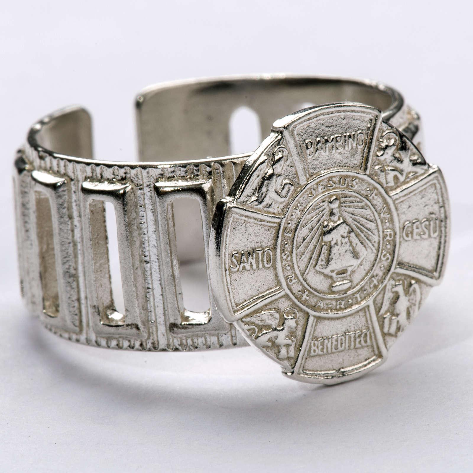 Anello vescovo argento 800 Gesù Bambino 3