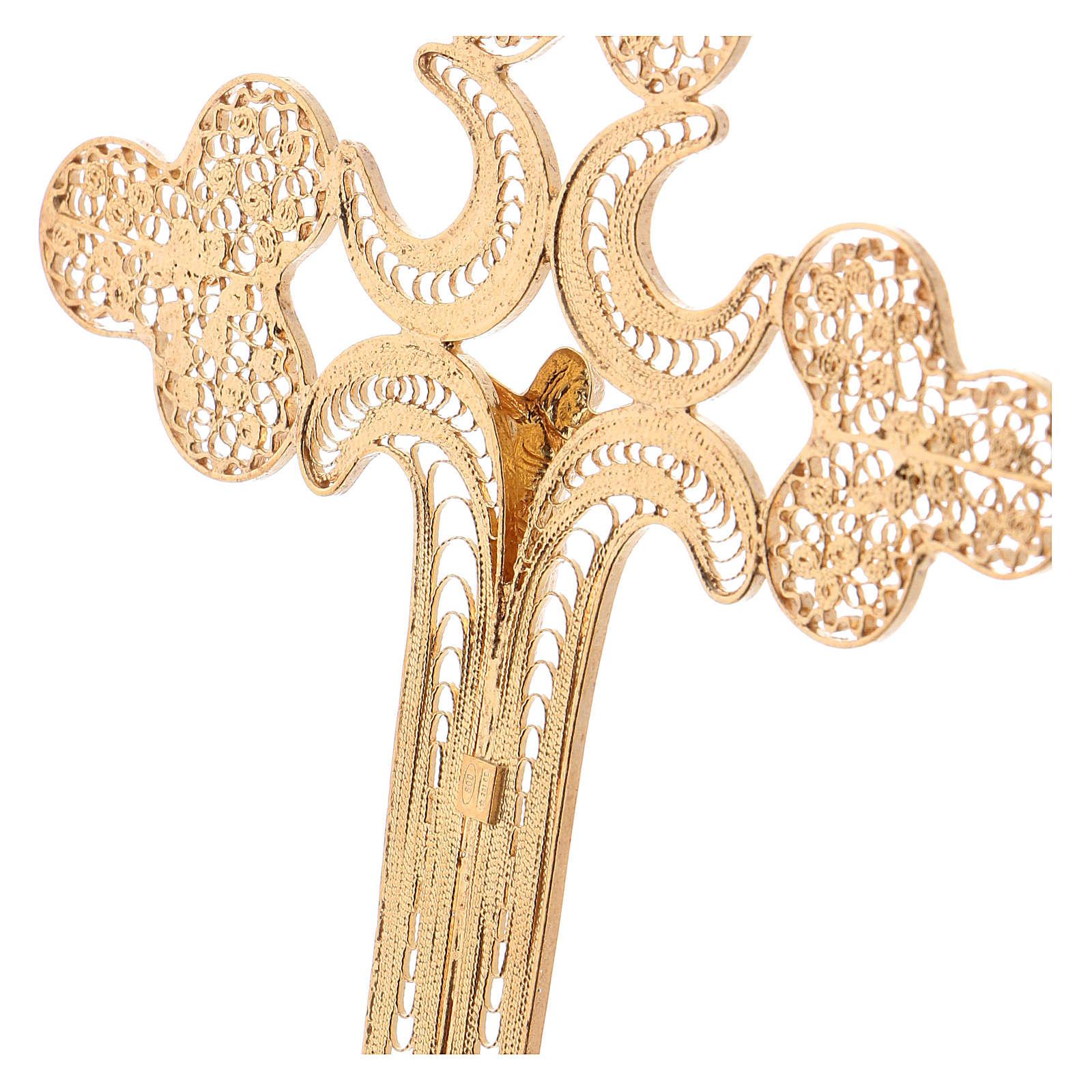 Cruz obispal de plata 800 dorada con cuerpo de Cristo 3