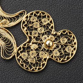 Croce pettorale filigrana argento 800 dorato con Corpo s5