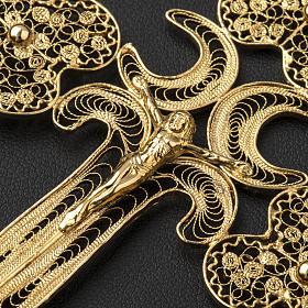 Croce pettorale filigrana argento 800 dorato con Corpo s6