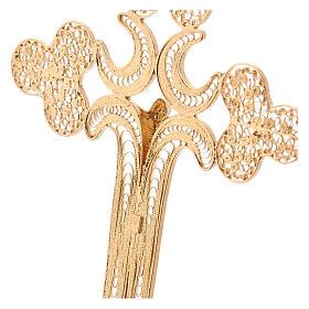 Croce pettorale filigrana argento 800 dorato con Corpo s4