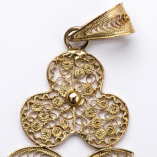 Croce pettorale filigrana argento 800 dorato con Corpo 3