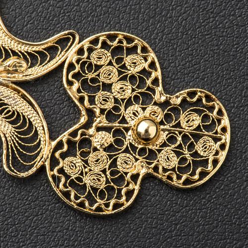 Croce pettorale filigrana argento 800 dorato con Corpo 5