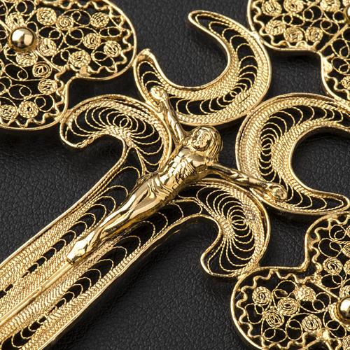 Croce pettorale filigrana argento 800 dorato con Corpo 6