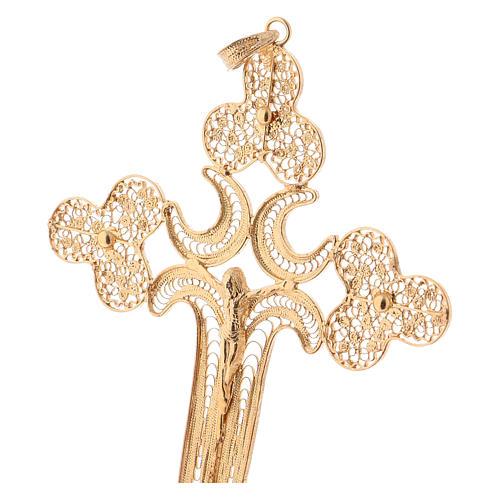 Croce pettorale filigrana argento 800 dorato con Corpo 2