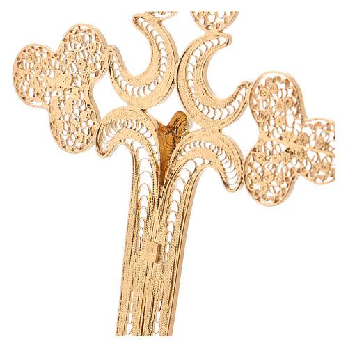 Croce pettorale filigrana argento 800 dorato con Corpo 4