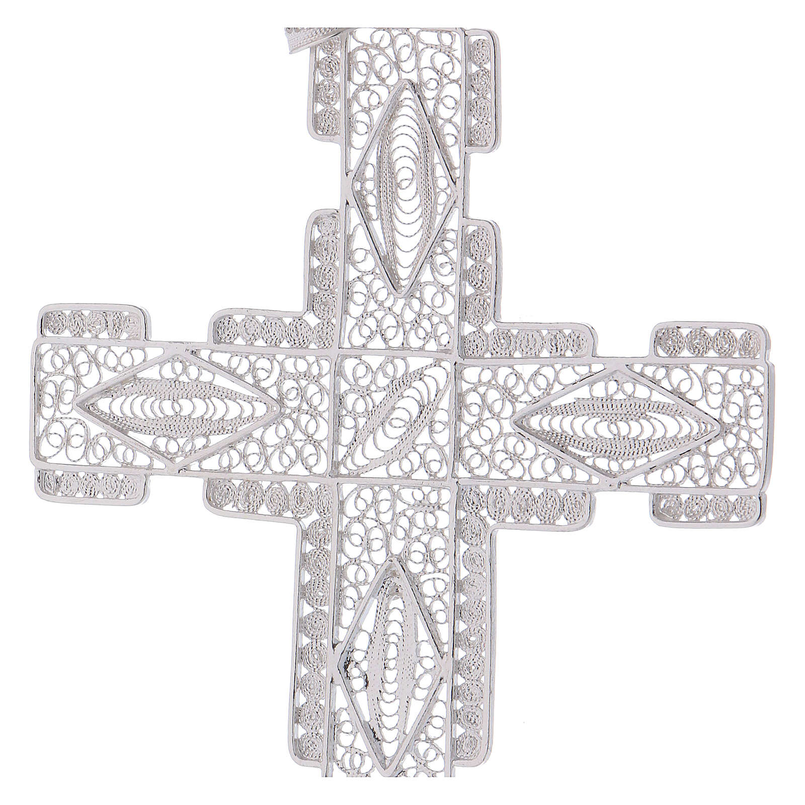 Pectoral Cross made of silver 800 filigree, stylized 3