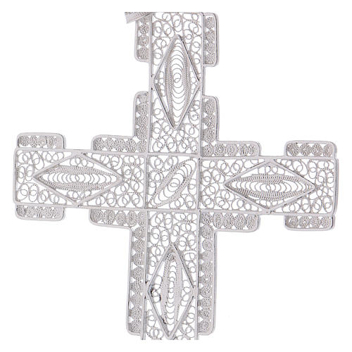 Pectoral Cross made of silver 800 filigree, stylized 2