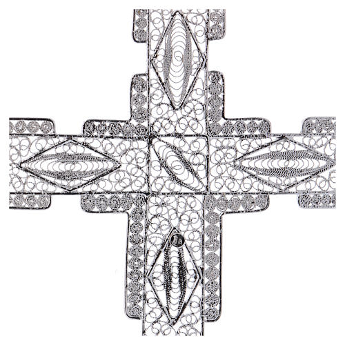 Pectoral Cross made of silver 800 filigree, stylized 4