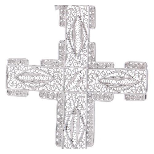 Cruz Pectoral estilizada de plata 800 2