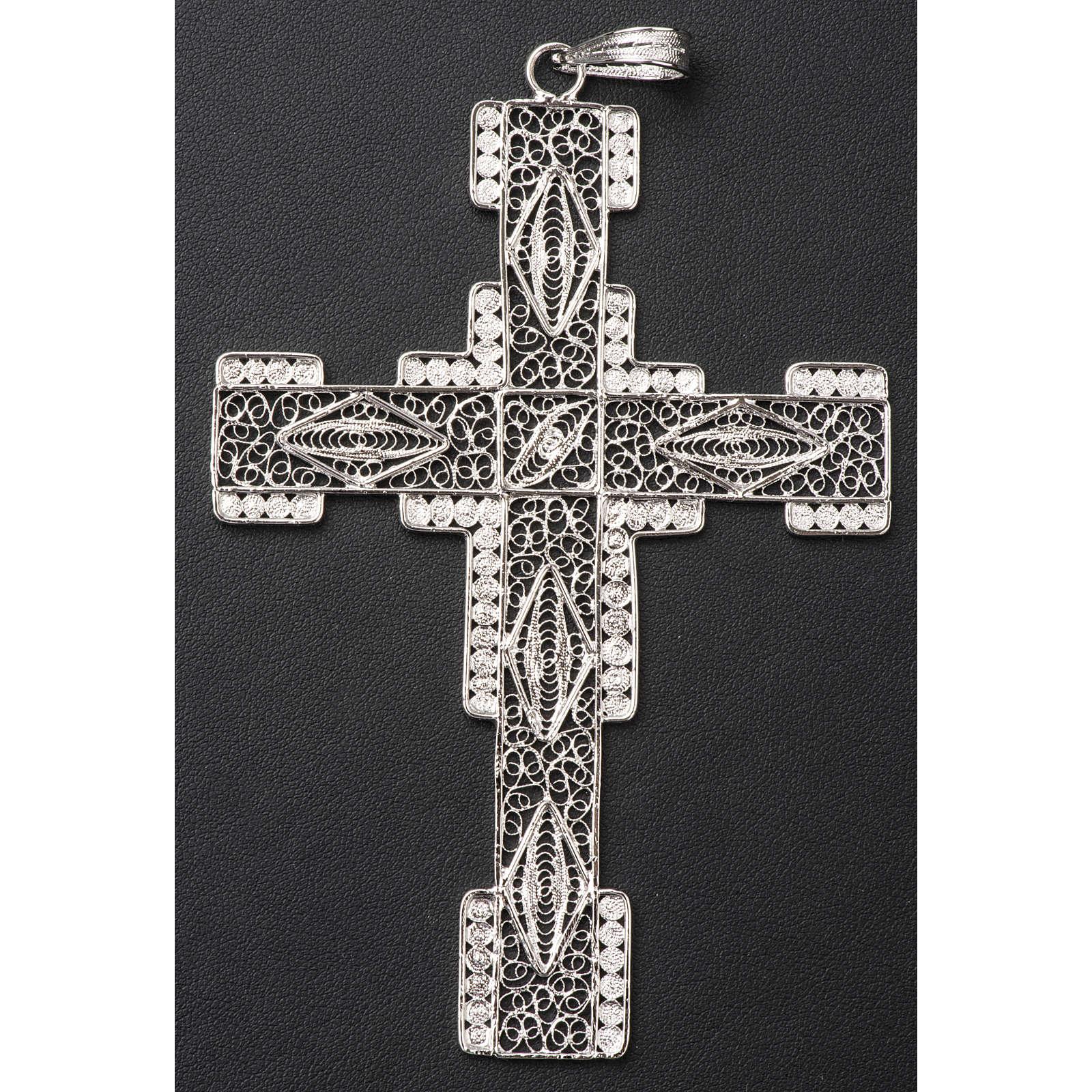 Croix pectorale en filigrane d'argent 800 stylisée 3