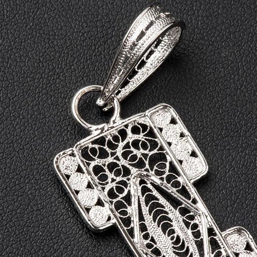 Croix pectorale en filigrane d'argent 800 stylisée 4