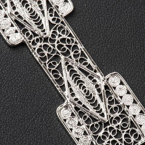 Croix pectorale en filigrane d'argent 800 stylisée 5