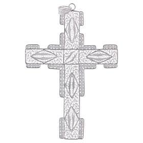 Croce pettorale stilizzata argento 800 filigrana s1