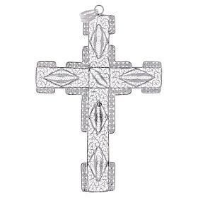 Croce pettorale stilizzata argento 800 filigrana s3