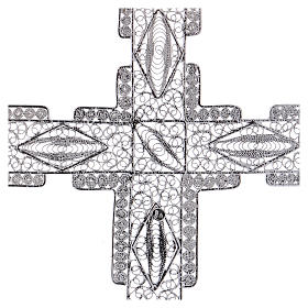 Croce pettorale stilizzata argento 800 filigrana s4