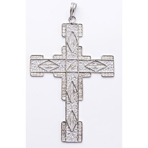 Croce pettorale stilizzata argento 800 filigrana 1
