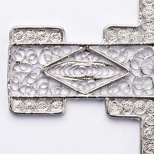 Croce pettorale stilizzata argento 800 filigrana 2