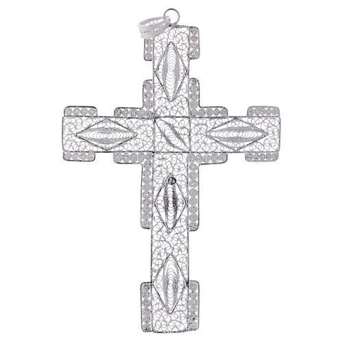 Croce pettorale stilizzata argento 800 filigrana 3