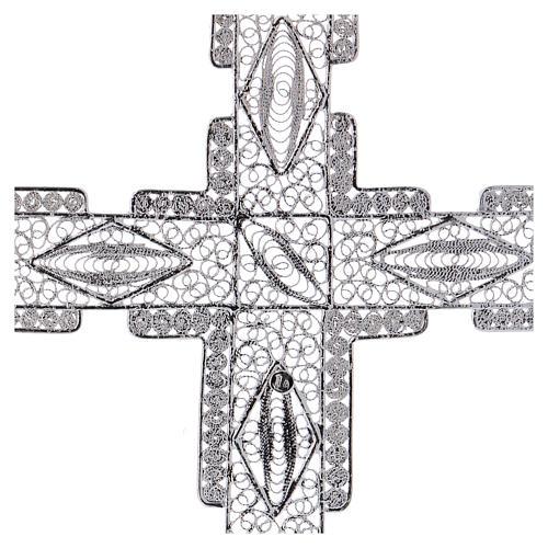 Croce pettorale stilizzata argento 800 filigrana 4