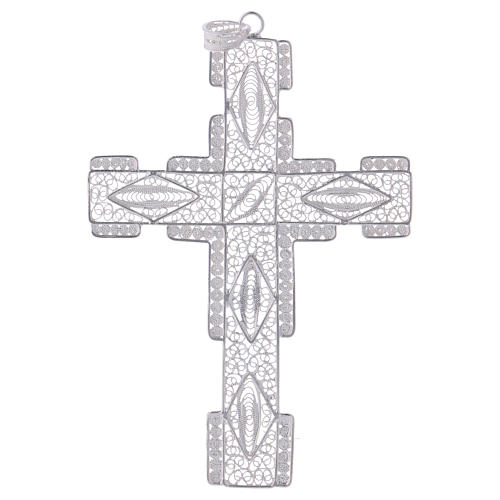 Pectoral Cross made of silver 800 filigree, stylized 1
