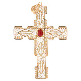 Pectoral Cross in golden silver filigree with coral stone s1