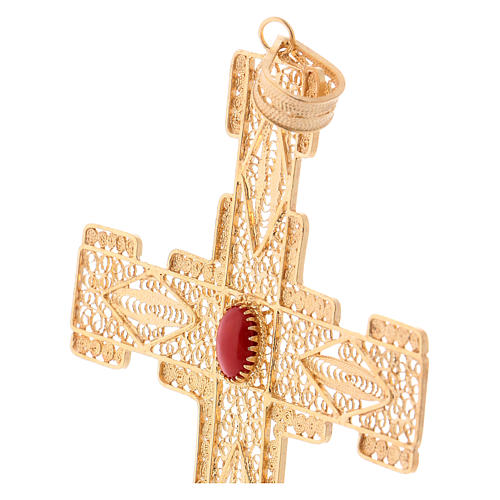 Pectoral Cross in golden silver filigree with coral stone 2