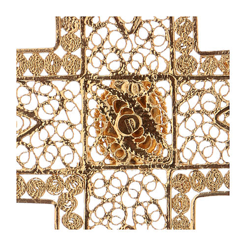 Pectoral Cross in golden silver filigree with coral stone 4