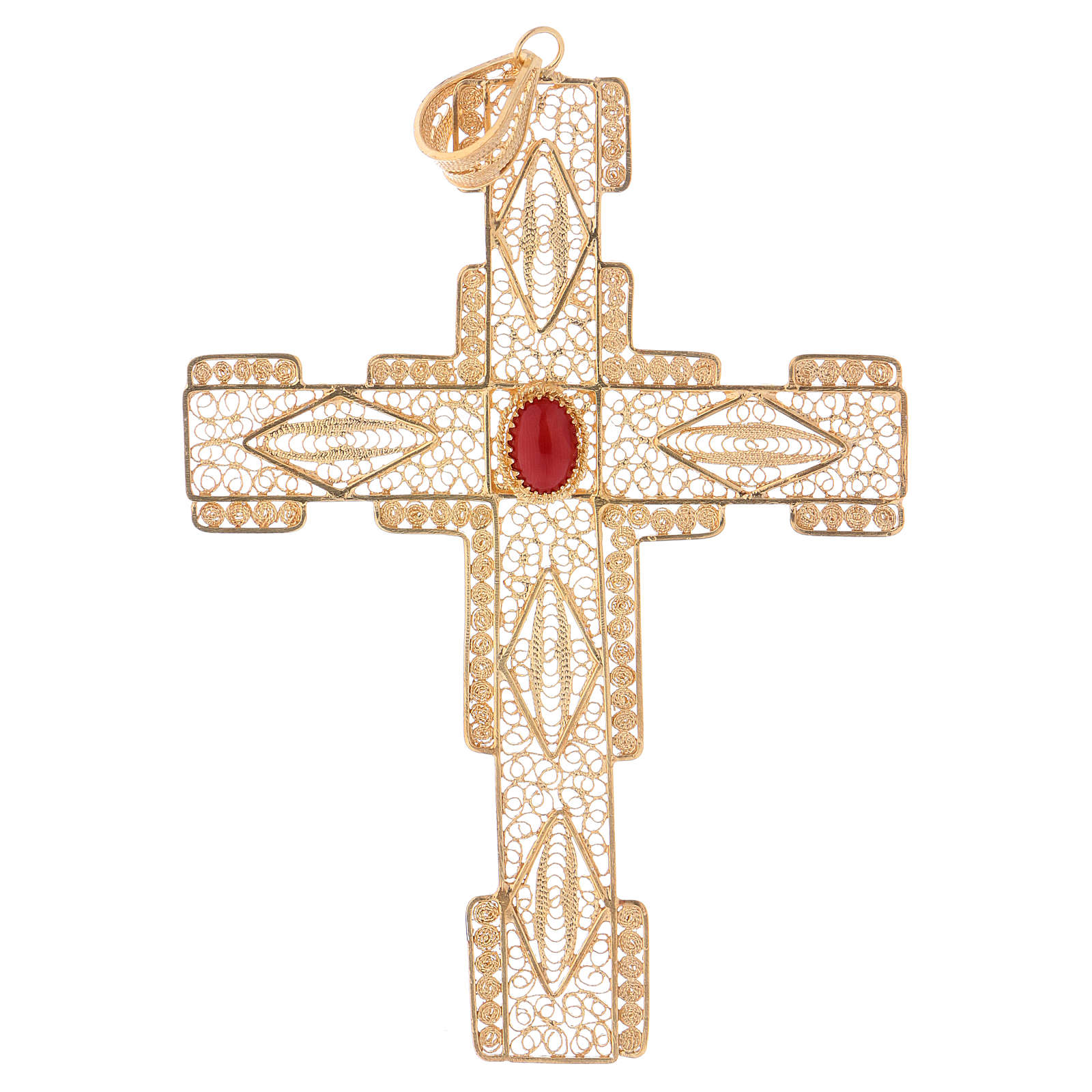 Cruz Pectoral estilizada de filigrana de plata 800 dorado 3
