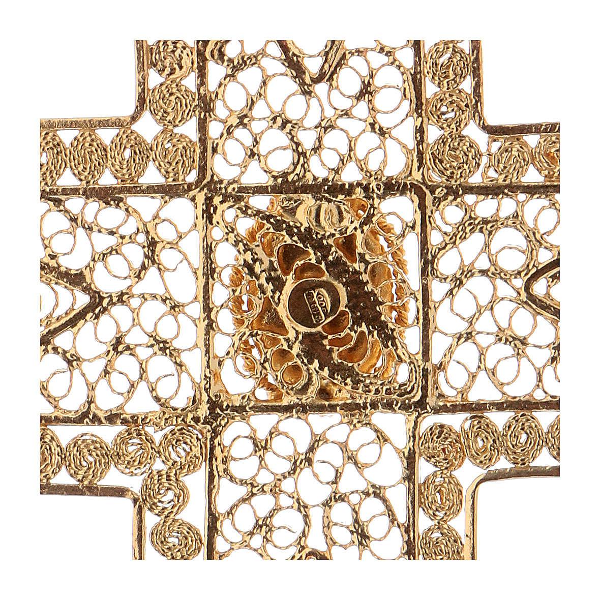 Croix pectorale en filigrane d'argent 800 dorée corail 3