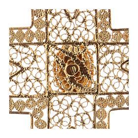 Croix pectorale en filigrane d'argent 800 dorée corail s4