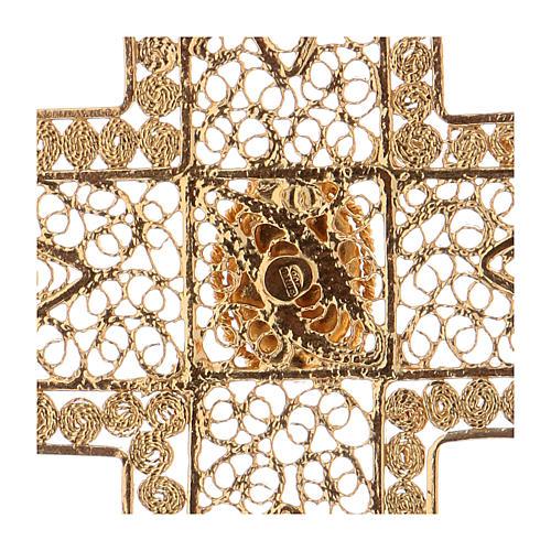 Croix pectorale en filigrane d'argent 800 dorée corail 4